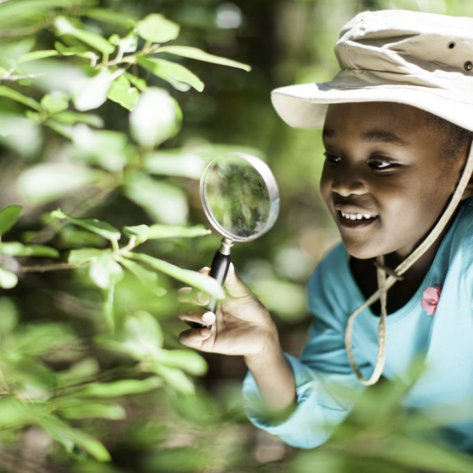 African girl holding a magnifying glass looking at a leaf exploring nature. Cape Town, Western Cape, South Africa